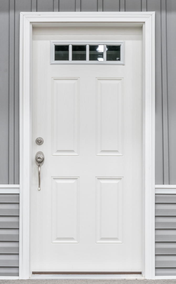 4 Lite White Fiberglass Front Door Commodore Of Indiana