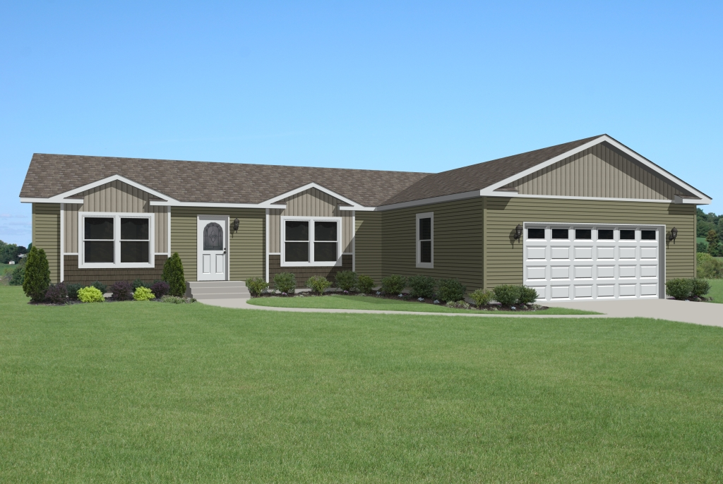 Shown here with 5/12 Roof and a Site Built Garage off front of home & Grandville LE Modular Ranch - Oakwood - RG715A | Find a Home ...