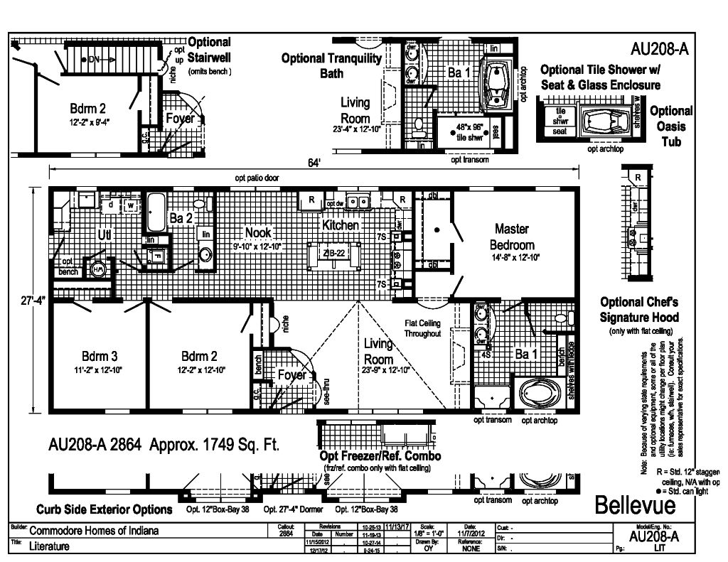 aurora classic ranch modular - bellevue - au208a   find a ... commodore mobile home electrical wiring plan redman mobile home electrical wiring #4