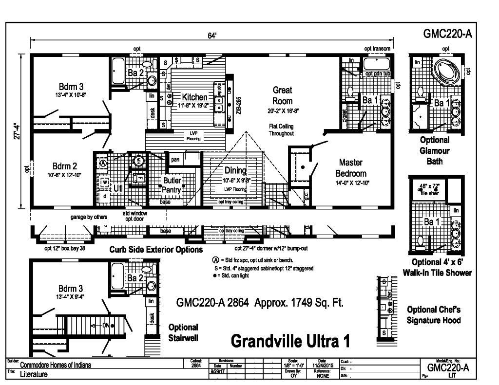 Grandville le modular ranch grandville ultra 1 gmc220a for Indianapolis home builders floor plans